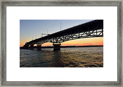 Sunset At The Coleman Bridge Framed Print