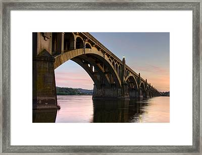 Sunset At The Columbia - Wrightsville Bridge Framed Print