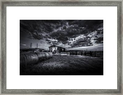 Sunset At The Dairy - Bw Framed Print