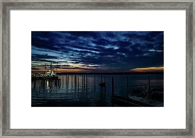 Sunset At The Dock Framed Print