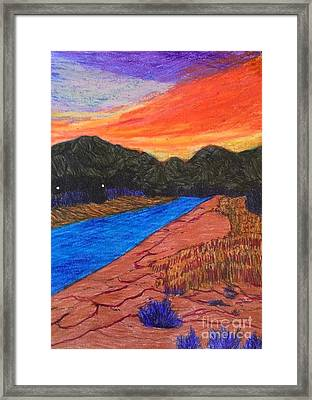 Sunset At The End Of The Road  Framed Print by Ishy Christine Degyansky