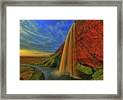 Framed Print featuring the photograph Sunset At The Falls by Scott Mahon