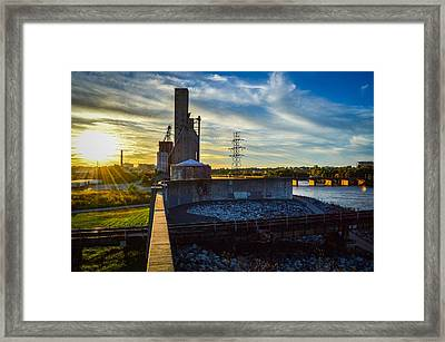 Sunset At The Flood Wall Framed Print