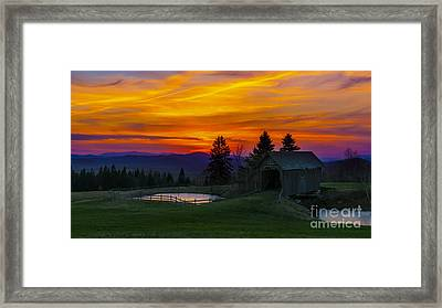 Sunset At The Foster Covered Bridge. Framed Print