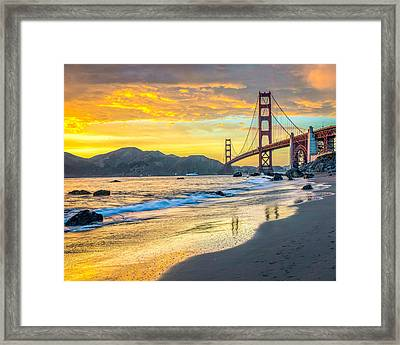 Sunset At The Golden Gate Bridge Framed Print by James Udall