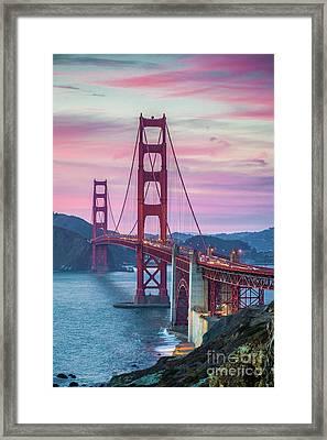 Sunset At The Golden Gate Framed Print by JR Photography