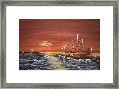 Sunset At The Harbor Framed Print by Miroslaw  Chelchowski