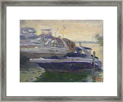 Sunset At The Harbor Framed Print