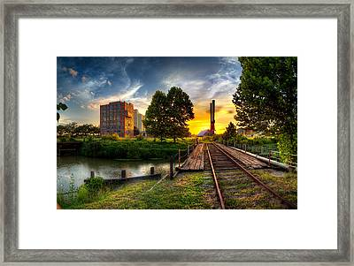 Sunset At The Imperial Sugar Factory Smoke Stacks Early Stage Landscape Framed Print