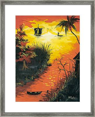 Sunset At The Inlet Framed Print by Herold Alvares
