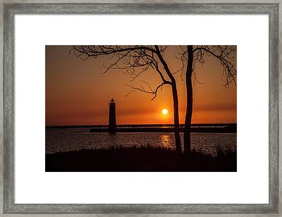 Sunset At The Lighthouse In Muskegon Michigan Framed Print by Randall Nyhof