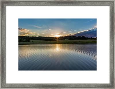 Sunset At The Mandelholz Dam, Harz Framed Print