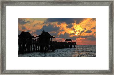Sunset At The Naples Pier Framed Print