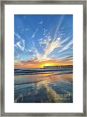 Sunset At The Pismo Beach Pier Framed Print