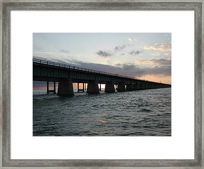 Framed Print featuring the photograph Sunset At The Seven Mile Bridge by Nancy Taylor