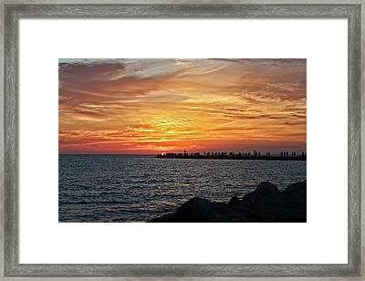 Sunset At The South Jetty  -  12southjetty0839 Framed Print