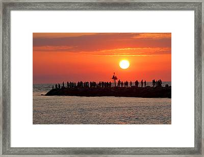 Sunset At The South Jetty, Venice, Florida, Usa Framed Print