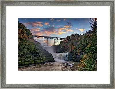 Sunset At The Upper Falls Framed Print by Rick Berk