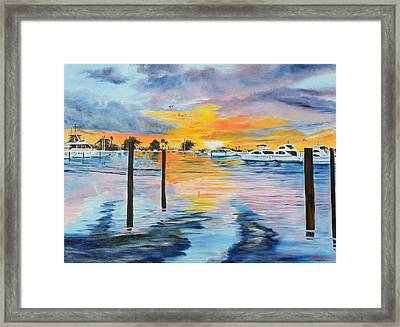 Sunset At The Yacht Club Framed Print