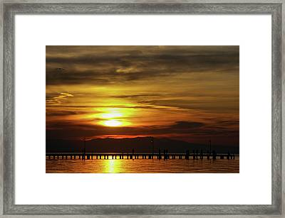 Sunset At Thessaloniki Framed Print