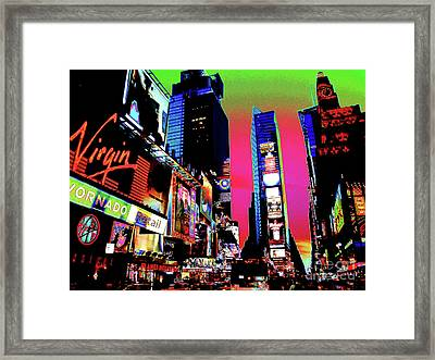 Sunset At Times Square Framed Print