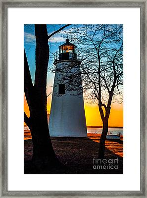 Framed Print featuring the photograph Sunset At Turkey Point Lighthouse by Nick Zelinsky