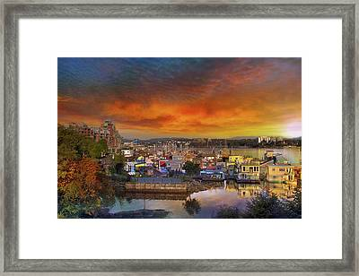 Sunset At Victoria Inner Harbor Fisherman's Wharf Framed Print by David Gn