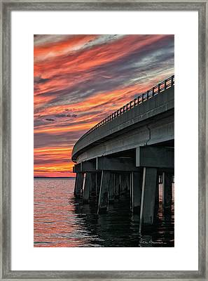 Sunset At Virginia Dare Memorial Bridge 4854 Framed Print