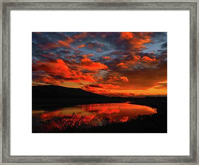 Sunset At Wallkill River National Wildlife Refuge Framed Print by Raymond Salani III