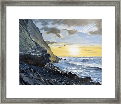 Framed Print featuring the painting Sunset At Warren Point Duckpool by Lawrence Dyer