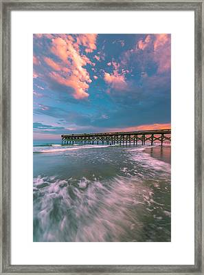 Sunset At Wilmington Crystal Pier In North Carolina Framed Print