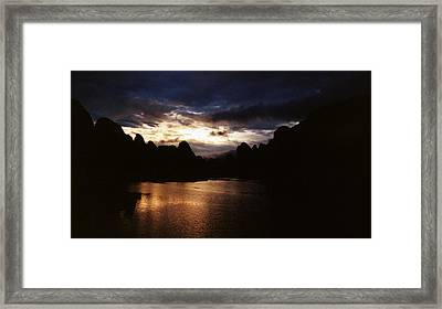 Sunset At Yangshuo In China Framed Print by Gosta Eger