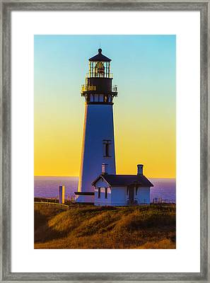 Sunset At Yaquina Head Lighthouse Framed Print by Garry Gay