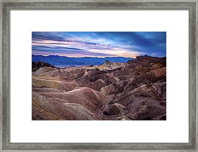 Sunset At Zabriskie Point In Death Valley National Park Framed Print