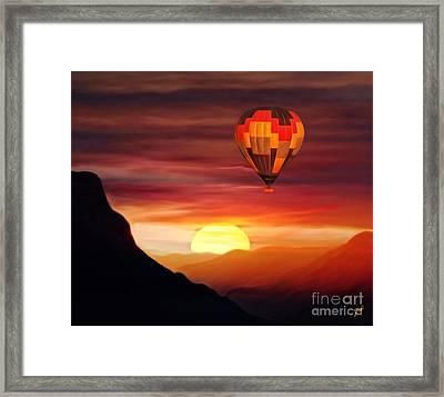 Sunset Balloon Ride Framed Print by Zedi