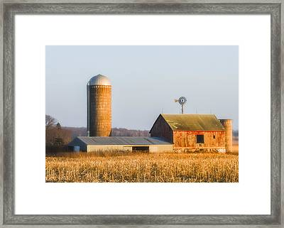Framed Print featuring the photograph Sunset Barn by Dan Traun