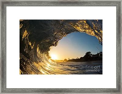 Sunset Barrel Wave On Beach Framed Print by Paul Topp