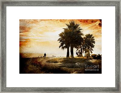 Sunset Beach Framed Print by Clare Bevan
