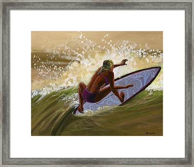 Sunset Beach Girl Framed Print by Hank Wilhite