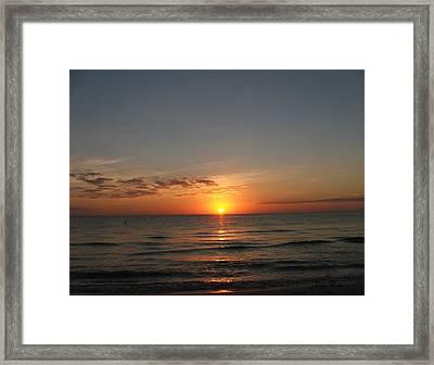 Sunset Beach Framed Print by Judy  Waller