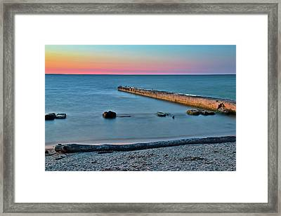 Framed Print featuring the photograph Sunset Beach On Lake Erie by Frozen in Time Fine Art Photography