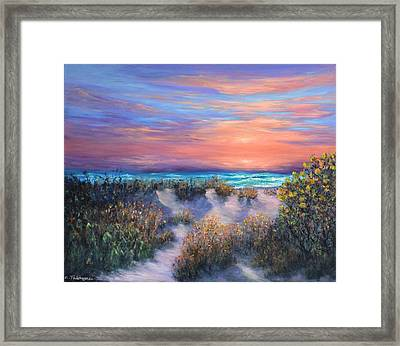 Sunset Beach Painting With Walking Path And Sand Dunesand Blue Waves Framed Print