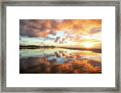 Sunset Beach Reflections Framed Print