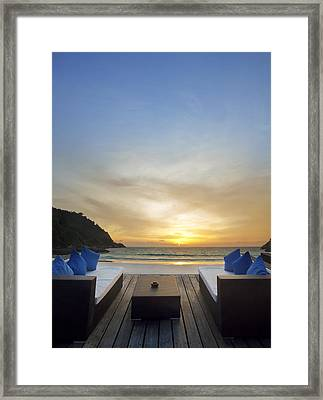 Sunset Beach Framed Print by Setsiri Silapasuwanchai