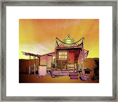 Sunset Beach Shack  Framed Print