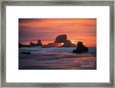 Sunset Behind Arch At Oregon Coast Usa Framed Print