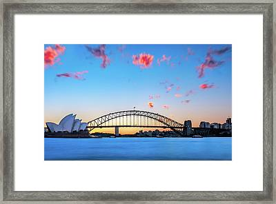 Sunset Behind Opera House And Sydney Harbour Bridge Framed Print