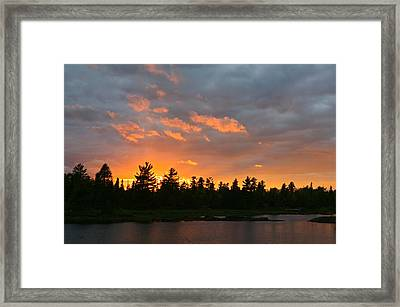 Sunset Behind Silhouetted Forest, Lake Framed Print by Panoramic Images