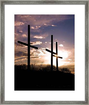 Sunset Behind The Cross Framed Print by Tim Abshire