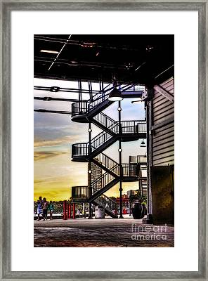 Sunset Behind The Stairs Framed Print by Kaye Menner